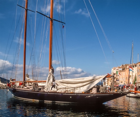 Classic sailing yacht in St Tropez