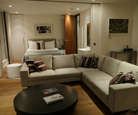 SACO Covent Garden apartment living room and bedroom