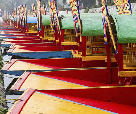 Colourful Mexican gondolas at Xochimilco's Floating Gardens