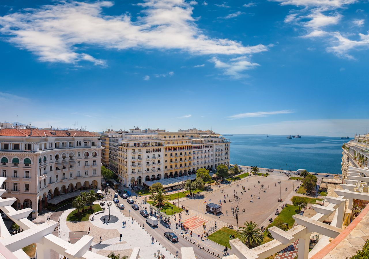 Aerial view of Aristotelous square in Thessaloniki, Greece