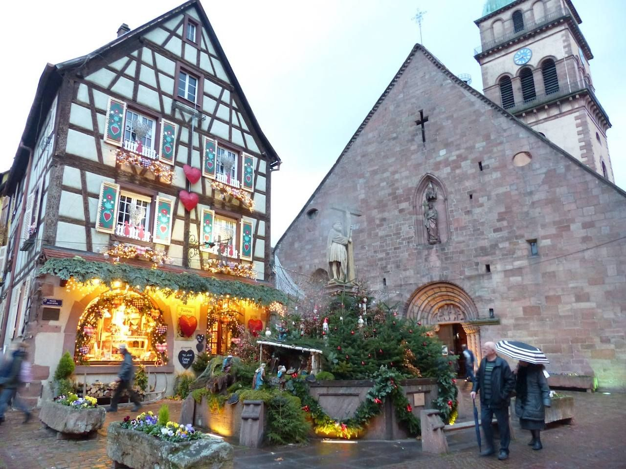 Buildings with Christmas decorations in Kaysersberg, France