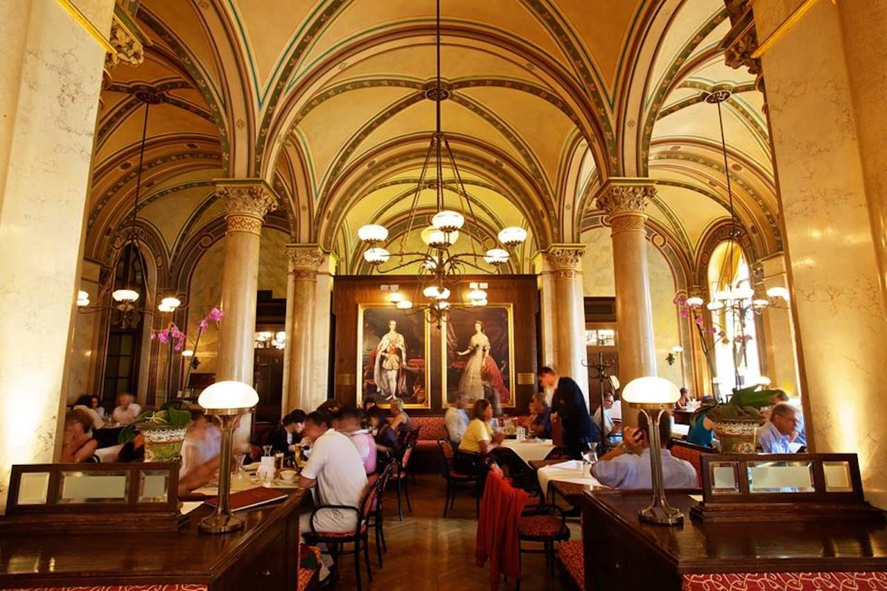 Grand domed interior of the Cafe Central Wien in Vienna