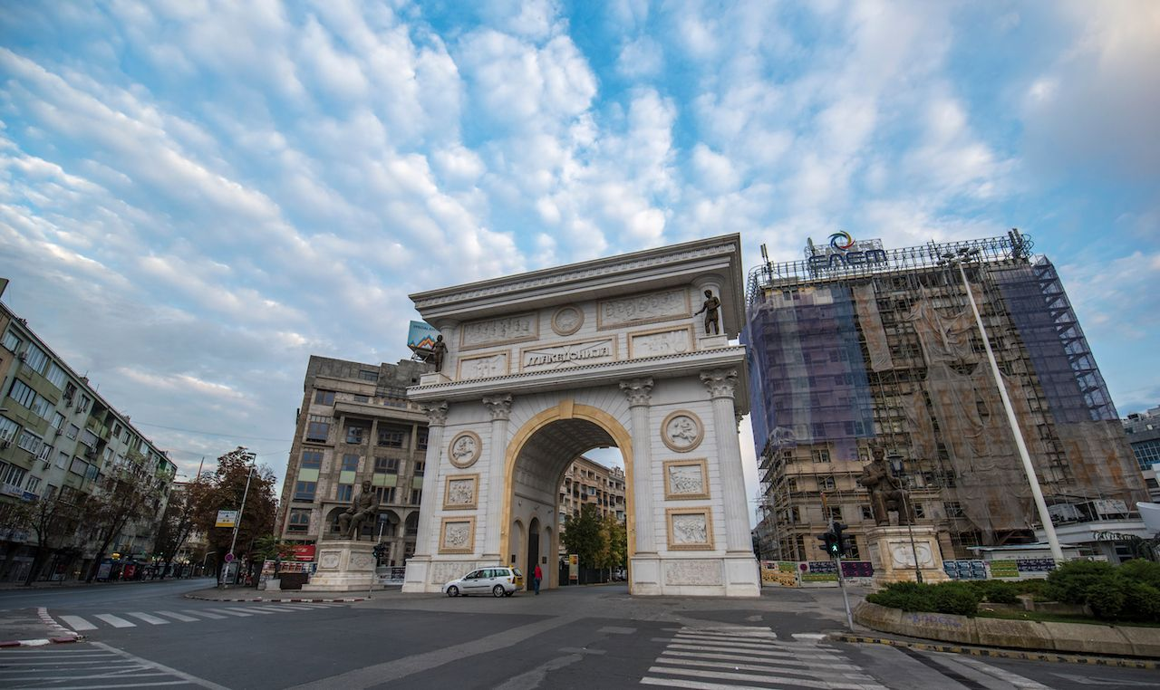 Triumph gate (Port Macedonia) on the main street of the city