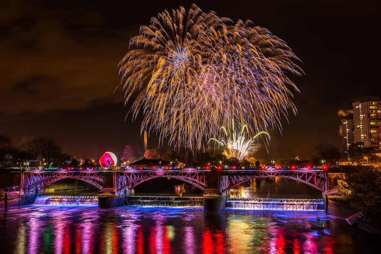 The annual Guy Fawkes firework display at Glasgow Green in Scotland
